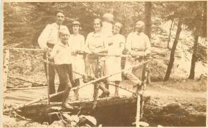 Photo postcard Romania social history Nadas Arad excursionists 1920s snapshot