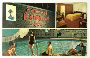 Admiral Benbow Inn Chattanooga TN Postcard 1950s Pool Plastichrome Motel