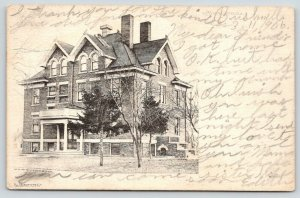 Monmouth Illinois~Monmouth Hospital~Drawn Image~Trees in Front~1906 B&W