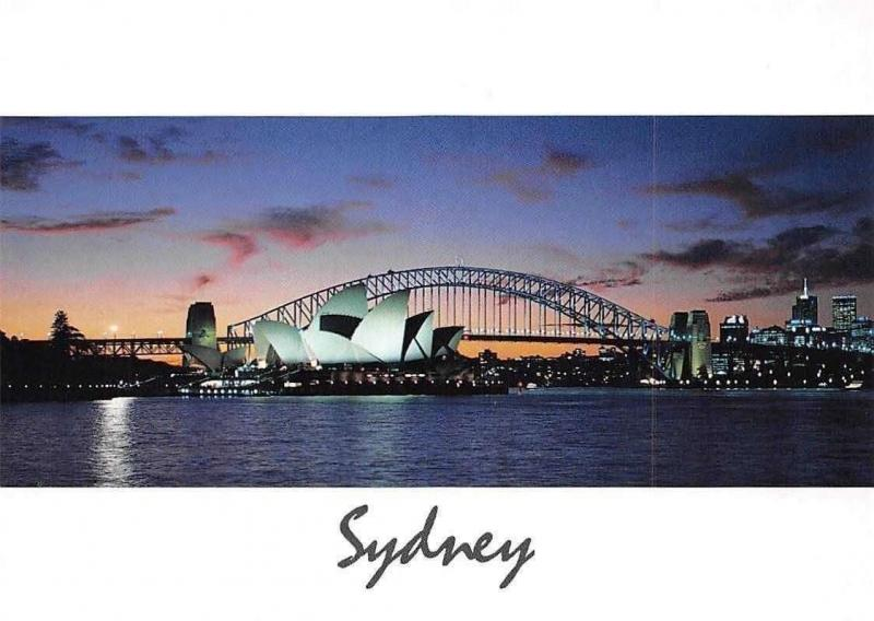 Australia Sydney New South Wales, Harbour at Dusk Bridge Panorama