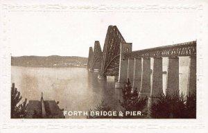 Forth Bridge & Pier, Scotland, Great Britain, early embossed postcard, unused
