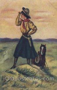 Artist Reynolds, Western Cowgirl Unused small crease top edge
