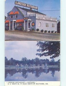 Pre-1980 LAKESIDE RESTAURANT Baltimore Maryland MD hs5498