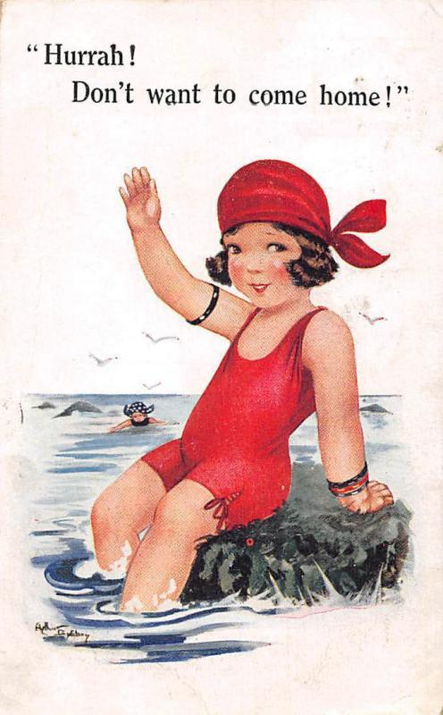 Hurrah! Don't want to come home! Bath Swimwear Girl, Comique, Comic 1928