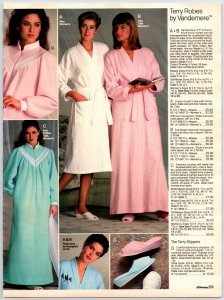 1980's Pretty Ladies In Bath Robes Lounge Wear AD Paper Print AD Clippings