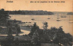 Potsdam Blick auf den Jungfernsee GLienicker Brucke Boats Postcard