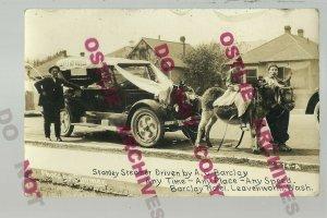 Leavenworth WASHINGTON RPPC c1920s ADVERTISING Hotel STANLEY STEAMER Taxidermy