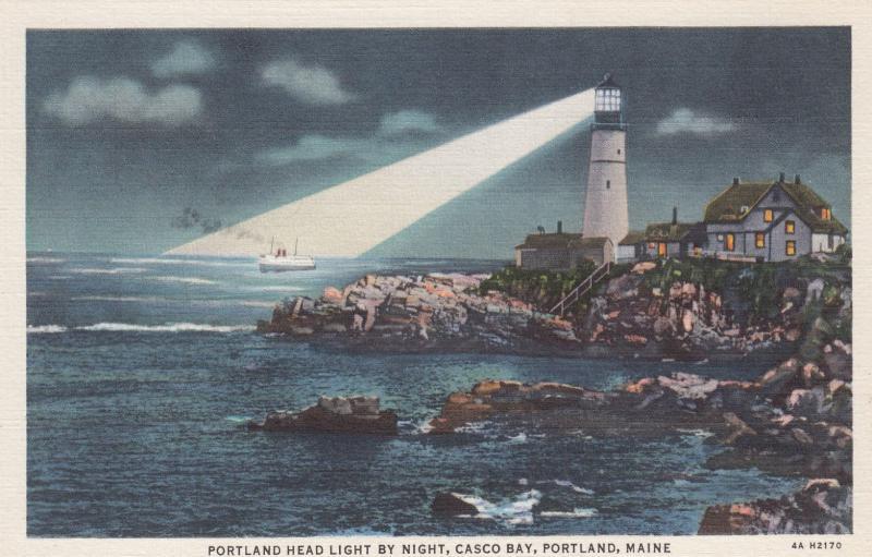 PORTLAND , Maine , 30-40s; Portland Head Light by Night, Casco Bay, LIGHTHOUSE