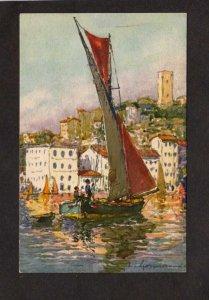 France Cannes Tartanes dans le port Artist Signed Painting Art French Postcard