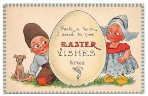 Bernhardt Wall Easter Postcard Dutch Kids Boy Girl Egg Dog