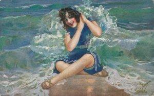 Artist Signed Woman On A Beach Postcard 04.00