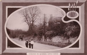 Cheeky Schoolboys at Entrance To Quarries Little Eaton Cambs RPC Postcard