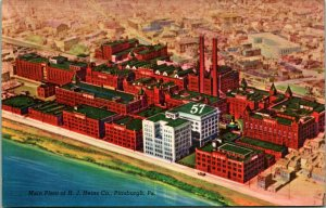 "Vtg Lin Postale - Principal Plante De H. J. Heinz Co Usine ""57"" Pittsburgh Pa De"
