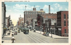 LPS93 Erie Pennsylvania State Street looking North Town View Vintage Postcard
