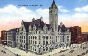 Milwaukee, WI USA,  Post Office Postcard, Postoffice Post Card Old Vintage An...
