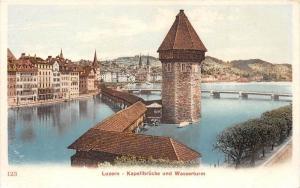 Switzerland  Luzern   Kapellbrucke und Wasserturm, Covered Bridge