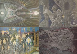 Red Moon Horror Torture Devil Beast Fantasy Art 1980s 13x Postcard s