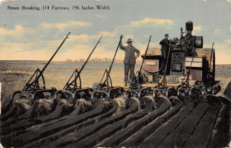 STEAM BREAKING TRACTOR PLOWS~14 FURROW~196 WIDE~AGRICULTURE POSTCARD 1910s