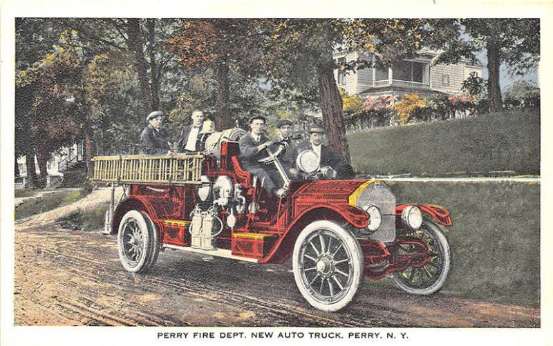 Perry NY Fire Department New Auto Fire Truck Postcard