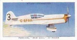 Wills Vintage Cigarette Card Speed No 6 Percival Mew Gull III Racer  1938