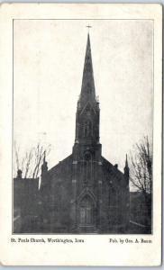 Worhtington, Iowa Postcard St. Paul's Church w/ 1909 Dyersville RFD Cancel