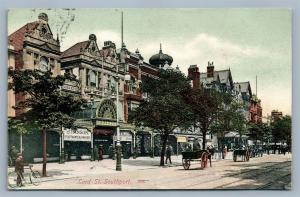 LORD STREET SOUTHPORT ENGLAND ANTIQUE POSTCARD w/ STAMP