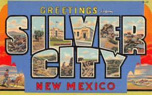 Silver City New Mexico~Large Letter Linen Postcard~Downtown~Natural Tunnel~1937