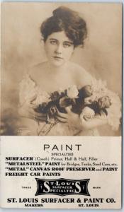 1907 Missouri Advertising RPPC Real Photo Postcard ST LOUIS SURFACER & PAINT CO
