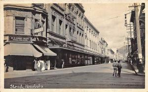 Honolulu HI Odd Fellows Hall street view Store Fronts RPPC Real Photo Postcard