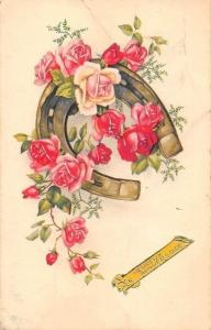 Heureux Anniversaire! Anniversary! Roses Flowers, Horseshoe Luck Fortune! 1959