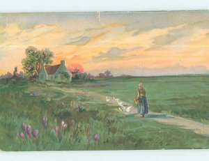 Divided-back NATURE SCENE Tuck - Woman Walking Home With Geese Birds AD8061