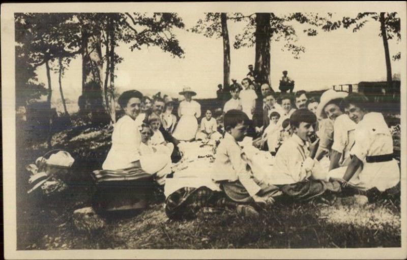 Family Picnic Food c1910 Real Photo Postcard