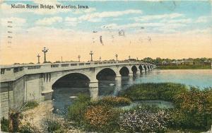 Waterloo Iowa~Mullin Street Bridge~Lamp Posts~1919 Postcard