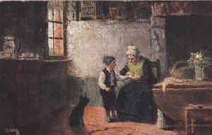 TUCK #9036, AS, Old Woman With A Child, Cat, Flemish Cottage Homes, UK, 1900-...