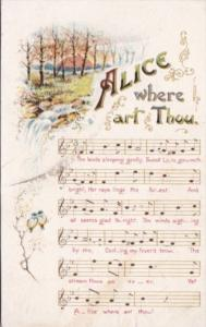 Music Song Card Alice Where Art Thou 1908
