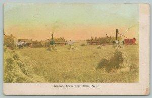 Oakes North Dakota~Farm Threshing Scene~Steam Engines~Horses~$1200 Order~1908