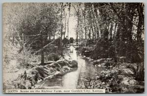 Garden City Kansas~Little Contraption @ Top of a Stream~Richter Farm~c1910 PC