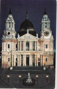 United Kingdom, London, St. Paul's Cathedral West Front by night, 1966 used
