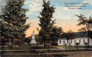 25185 ME, Freeport, Park, Soldiers and Sailers Monument and Church