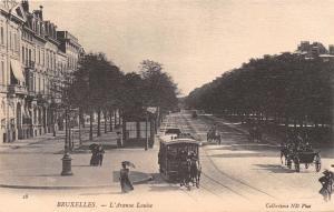 BRUXELLES BELGIUM L'AVENUE LOUISE~BOIS SCHAERBEEK HORSE PULLS TRAM POSTCARD 1900