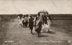 german east africa, Tanzania, USSUKUMA, Negro Sultan with Followers (1910s) RPPC
