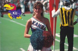 A Cheerleader During Football Season, University of Kansas, Lawrence, Kansas,...