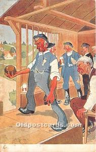 Old Vintage Bowling Postcard Post Card Fritz Schonpflug 1905