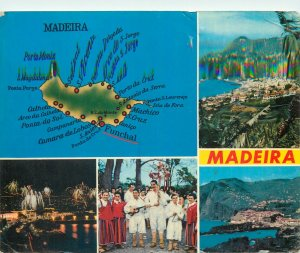Postcard Portugal diverse views of Madeira map ethnic folklore
