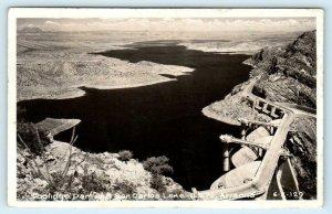 RPPC  SAN CARLOS LAKE & COOLIDGE DAM, Arizona AZ  1950 Highway 70  Postcard