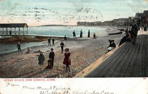 Ocean Beach, New London, Connecticut, Early Postcard, Used in 1906