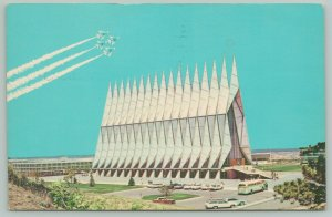 Colorado Springs~US Air Force Academy~Jets Fly Over A-Frame Cadet Chapel~1960s