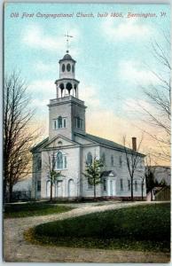 1910s Bennington, Vermont Postcard Old First Congregational Church, Built 1806
