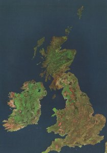 British Isles From Outer Space Rare Astronomy Map Postcard