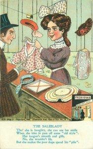 Artist Impression Comic Humor Vinegar Valentine woman 1908 Postcard 11382